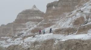 Volunteers hiking in the Badlands, Nov 11th